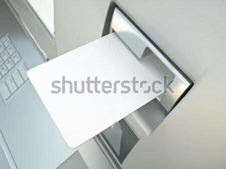 Hitelkártya üres kártya rés üdvözlőlap design 3D renderelt Stock fotó © bayberry