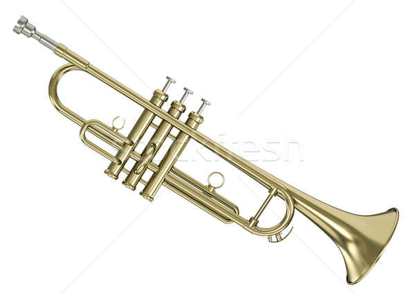 Сток-фото: трубы · золото · изолированный · белый · 3D · оказанный