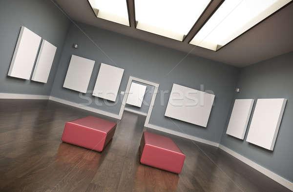 Galéria belső 3D renderelt kép fal Stock fotó © bayberry
