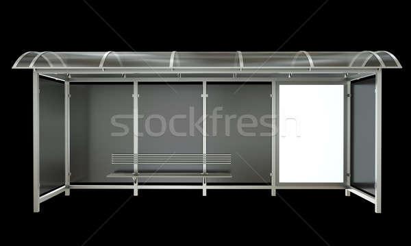 バス停 バナー 孤立した 黒 3dのレンダリング 金属 ストックフォト © bayberry
