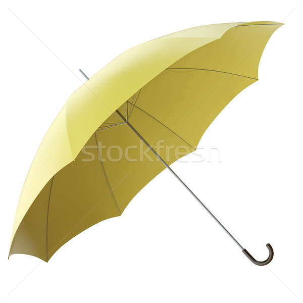 Jaune parapluie isolé blanche rendu 3d fond Photo stock © bayberry