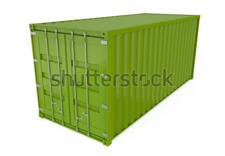 Zdjęcia stock: Wysyłki · pojemnik · zielone · odizolowany · biały · 3d