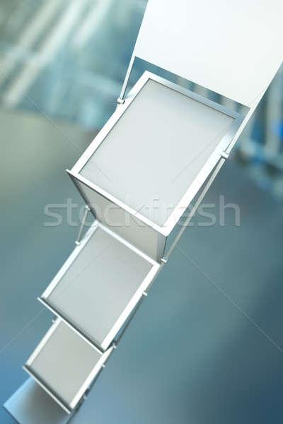 Stock fotó: Brosúra · fogas · üres · áll · 3d · render · keret