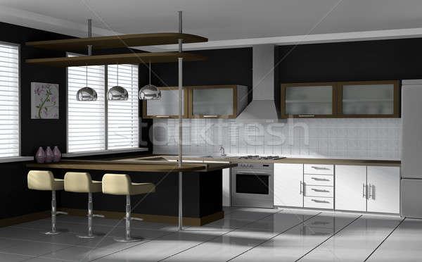 Moderne keuken interieur 3D gerenderd afbeelding huis Stockfoto © bayberry