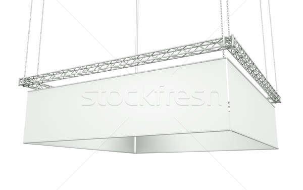 Foto stock: Colgante · banner · aislado · blanco · 3d · comercialización