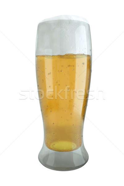 Vidrio cerveza blanco 3d luz fondo Foto stock © bayberry