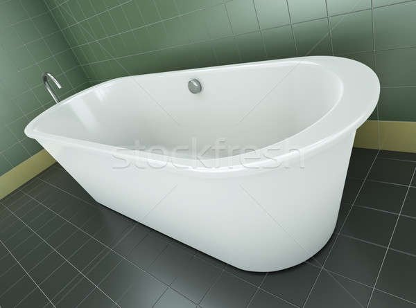 Bañera clásico azulejos bano 3d verde Foto stock © bayberry