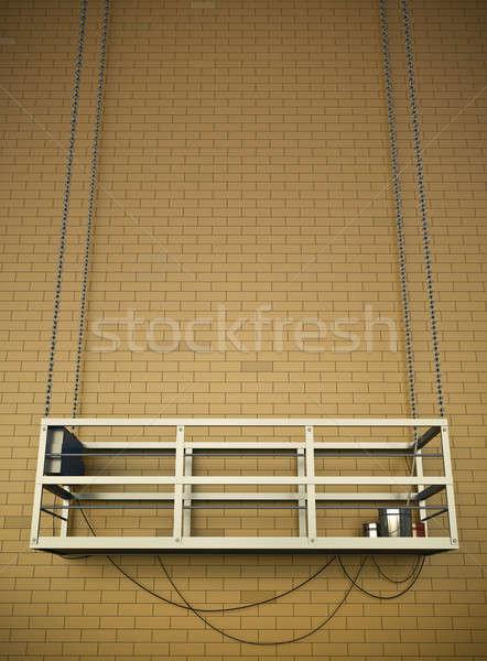 Construcción ascensor pared de ladrillo 3D edificio fondo Foto stock © bayberry