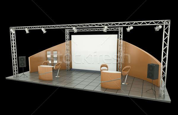 Photo stock: échanges · exposition · stand · noir · orange · table