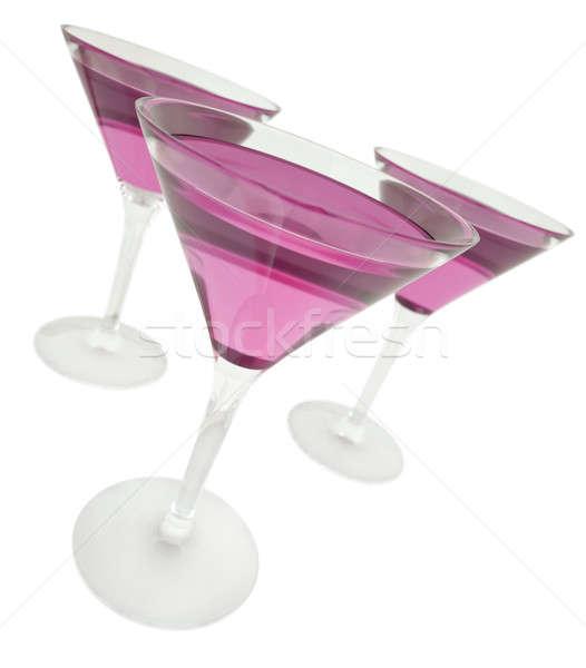 Paars dranken drie martini bril 3d render Stockfoto © bayberry