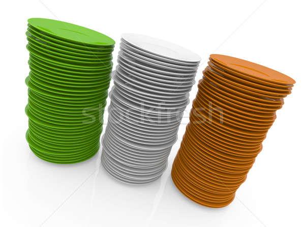 Foto stock: Irlandés · cocina · tres · placas · bandera · 3D