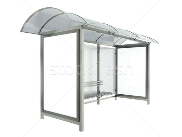 автобусная остановка Баннеры изолированный белый 3d визуализации металл Сток-фото © bayberry