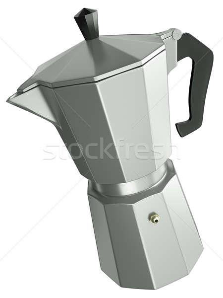 кофеварка итальянский изолированный белый 3d визуализации металл Сток-фото © bayberry