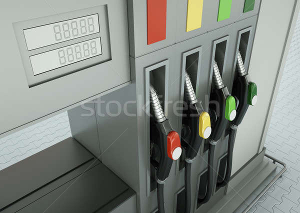 топлива АЗС 3d визуализации промышленности нефть современных Сток-фото © bayberry