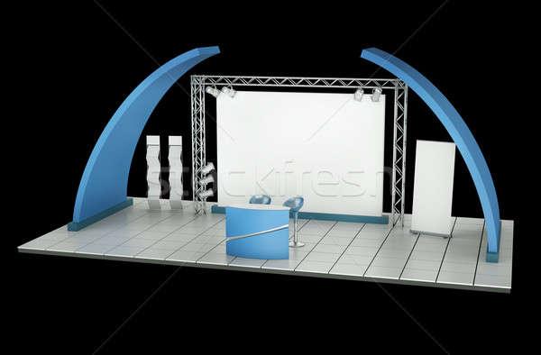 Stock fotó: Kereskedelem · kiállítás · áll · fekete · 3D · renderelt · kép