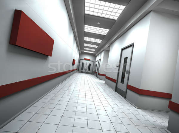 Koridor boş imzalamak duvar 3D render Stok fotoğraf © bayberry