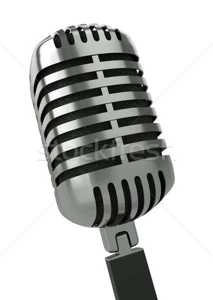 Micrófono clásico blanco 3d tecnología noticias Foto stock © bayberry