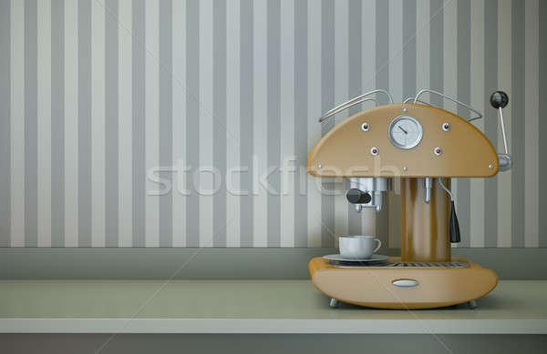 Café tiempo retro 3d pared Foto stock © bayberry