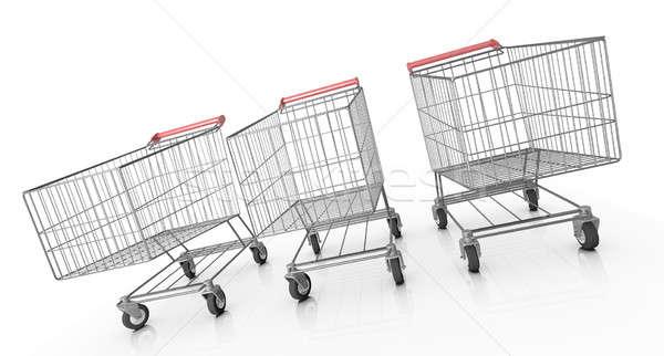 Három vásárlás 3D renderelt kép fém Stock fotó © bayberry