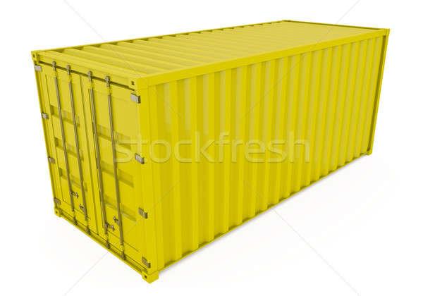 Stok fotoğraf: Nakliye · konteyner · sarı · yalıtılmış · beyaz · 3d · render