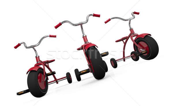 üç kırmızı 3d render çocuk arka plan bisiklet Stok fotoğraf © bayberry