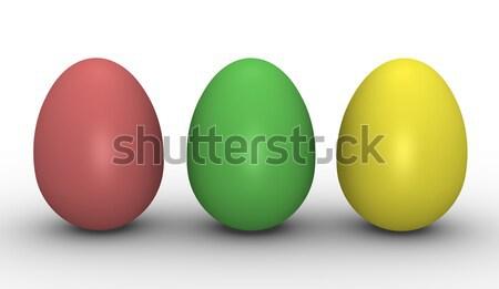 Drie kleurrijk eieren 3D gerenderd afbeelding Stockfoto © bayberry