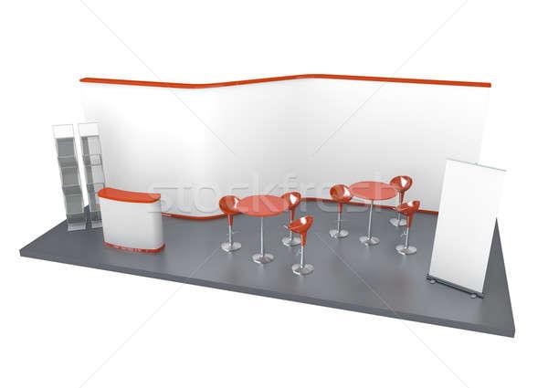 Handel tentoonstelling stand 3D gerenderd illustratie Stockfoto © bayberry