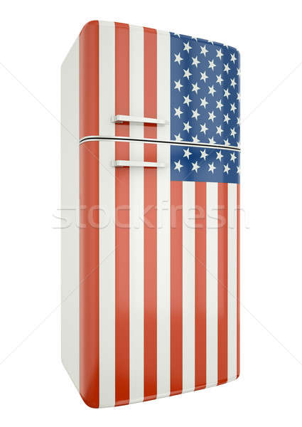Koelkast vlag 3d render retro object concept Stockfoto © bayberry