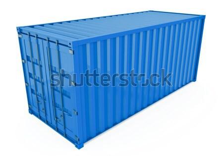 Photo stock: Expédition · contenant · bleu · isolé · blanche · rendu · 3d