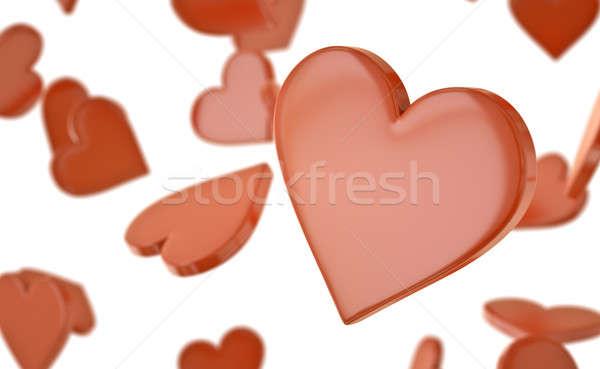 сердцах красный 3D оказанный иллюстрация сердце Сток-фото © bayberry