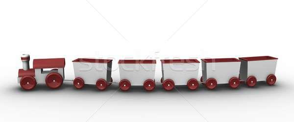 ストックフォト: おもちゃ · 列車 · 3D · レンダリング · 実例 · 楽しい