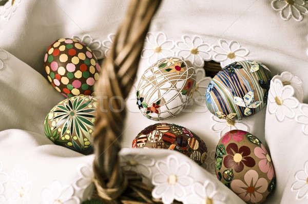 Pascua cesta huevos de Pascua huevo alegría felicidad Foto stock © bayberry