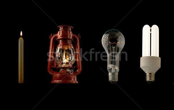Evrim aydınlatma ışık yangın çalışmak lamba Stok fotoğraf © bazilfoto
