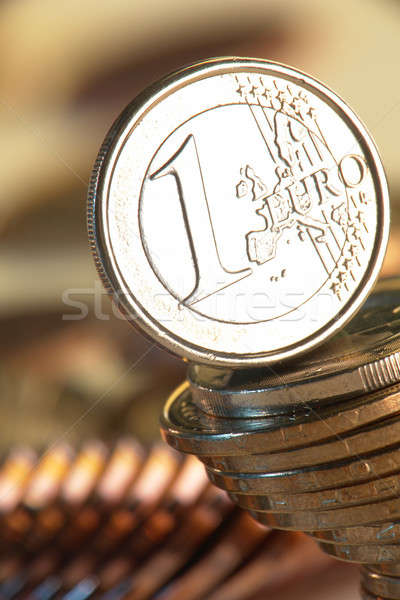 Euro érme érmék pénz fém pénzügy Stock fotó © bazilfoto