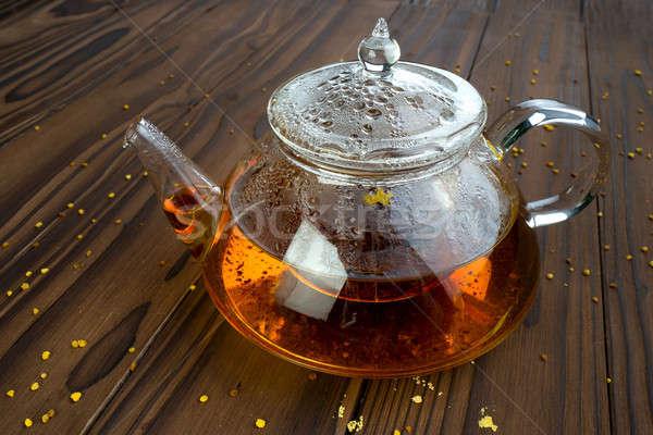 Théière brun table boire thé noir Photo stock © bazilfoto