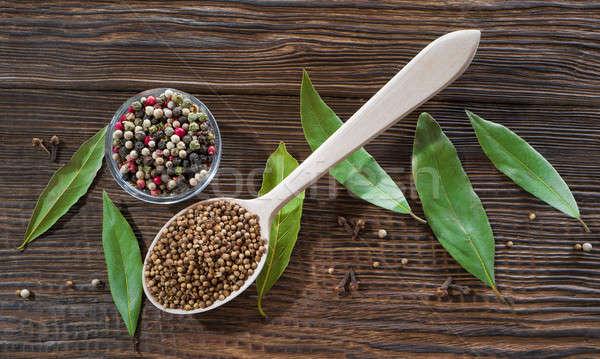 Babérlevél koriander asztal természet levél zöld Stock fotó © bazilfoto