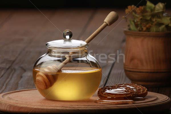 Méz citrus barna asztal virág természet Stock fotó © bazilfoto