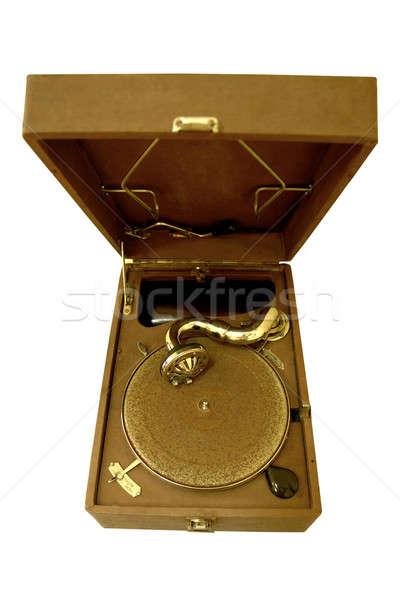 Retro gramofon öreg stílus izolált zene Stock fotó © bazilfoto