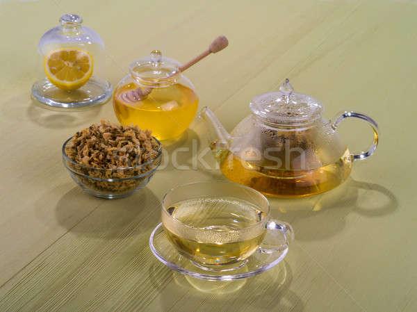 Сток-фото: чай · меда · таблице · стекла · фон · пить