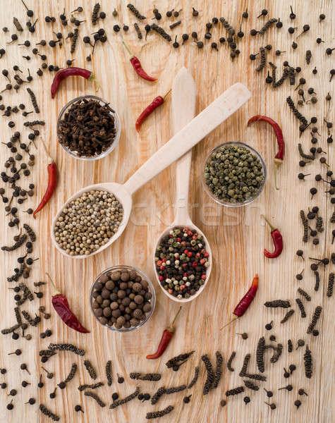 唐辛子 スプーン 表 デザイン 背景 キッチン ストックフォト © bazilfoto