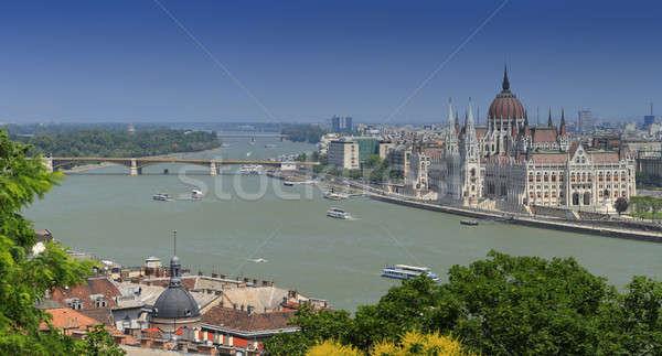 Panorámakép magyar parlament épület víz város Stock fotó © bazilfoto