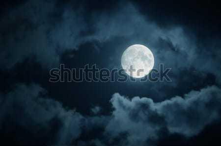 Ay dolunay karanlık gökyüzü bulutlar doğa Stok fotoğraf © bazilfoto