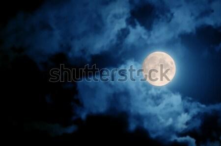 Hold telihold sötét égbolt felhők természet Stock fotó © bazilfoto