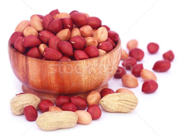 Vers pinda's kom witte papier vruchten Stockfoto © bdspn