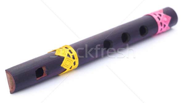 Bambu flauta subcontinente indiano branco música madeira Foto stock © bdspn