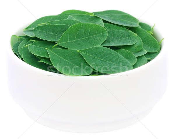 Comestible hojas tazón blanco naturaleza verde Foto stock © bdspn