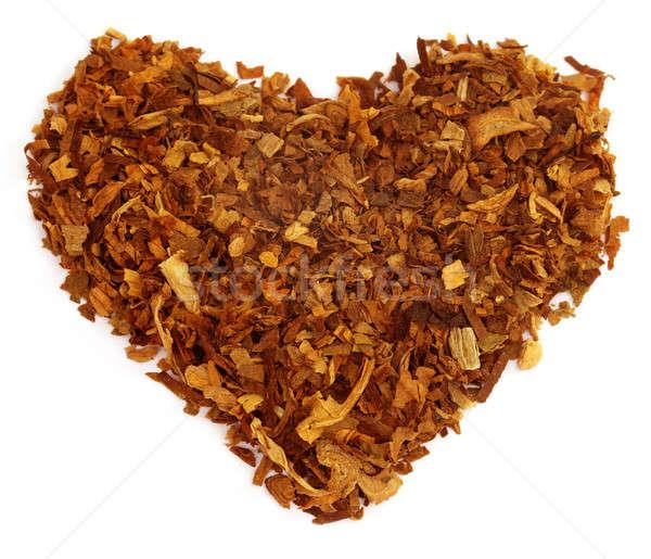 Gedroogd tabak bladeren ingericht hartvorm liefde Stockfoto © bdspn