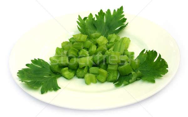 Vert céleri plaque blanche alimentaire nature Photo stock © bdspn