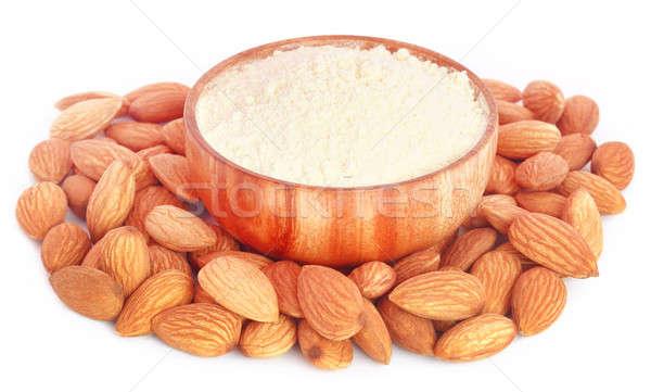 Friss mandulák liszt fából készült tál étel Stock fotó © bdspn