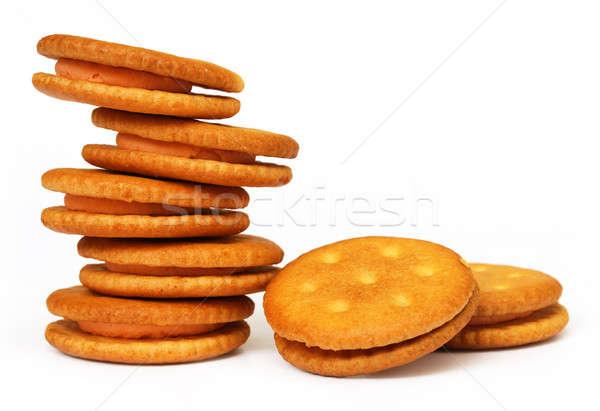 Dupla réteg krém sütik fehér étel Stock fotó © bdspn